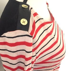 Nautical Shirt Red Stripes Accent Buttons